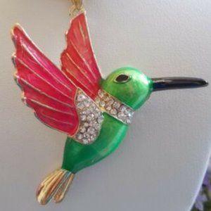 BETSEY JOHNSON RHINESTONE HUMMINGBIRD NECKLACE